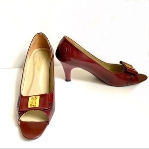 Cartier 7.5/8 Vintage Branded Logo Peep Toe Heels
